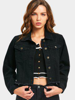 Letter Embroidered Frayed Hem Denim Jacket - Black L