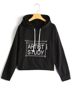 Zippered Pocket Letter Graphic Hoodie - Black