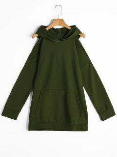 Long Cold Shoulder Hoodie With Pockets - Army Green M