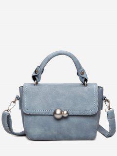 Metal Stitching Tote Bag - Lake Blue