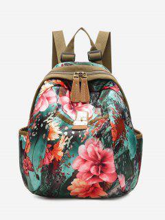 Metal Floral Print Backpack - Red