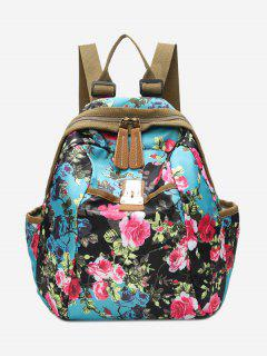 Metal Floral Print Backpack - Blue
