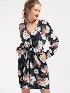 Long Sleeve Floral Pockets Dress - Floral S