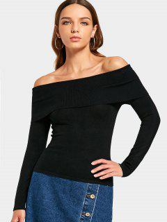 Off The Shoulder Plain Knit Top - Black M