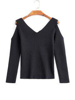 V Neck Contrasting Cold Shoulder Knitwear - Black