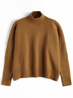 Ribbed Trim High Neck Sweater - Brown