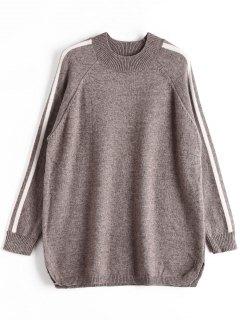 Übergröße Pullover Mit Streifen - Grau