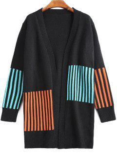Open Front Stripes Panel Cardigan - Black