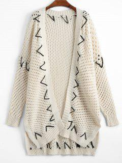 Sheer Criss Cross Open Front Cardigan - White