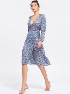 Printed Long Sleeve Wrap Midi Dress - Blue M
