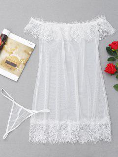 Sheer Mesh Babydoll - White