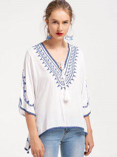 Blusa De Punto Con Cuello En V - Blanco L