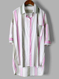 Stripes Oversized High Low Shirt - Pink