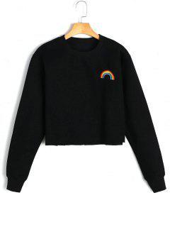 Fleeced Rainbow Embroidered Sweatshirt - Black M