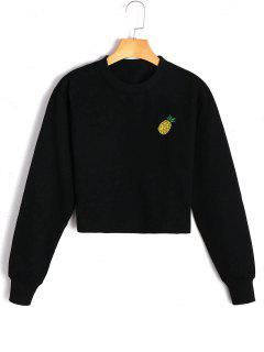 Fleeced Pineapple Embroidered Sweatshirt - Black S