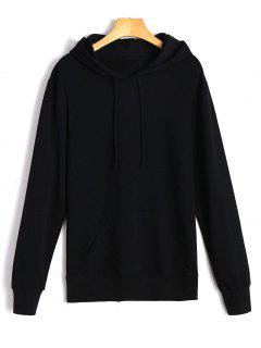 Drawstring Kangaroo Pocket Casual Hoodie - Black S