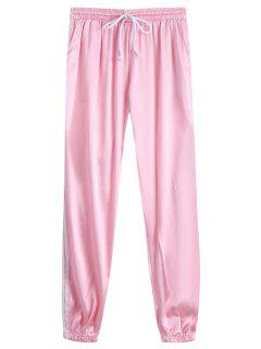 Drawstring Shiny Sporty Jogger Pants - Pink L