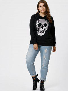 Halloween Plus Size Raglan Sleeve Skull Hoodie - Black Xl