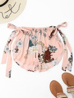 Side Slit Floral Tied Cover Up Shorts - Pink S