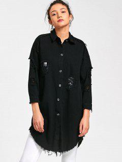 Langer Shirt Mantel Mit Ausgefranstem Saum - Schwarz M