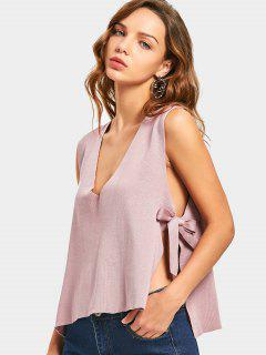 Plunging Neck Bowknot Knitted Tank Top - Light Pink