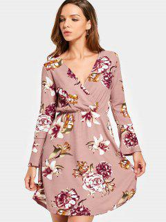 Crossed Front Long Sleeve Floral Mini Dress - Pink M