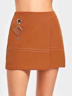 Jupe Embellie à Haute Taille - Orange Foncé L
