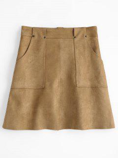 A Line Faux Suede Mini Skirt - Khaki M