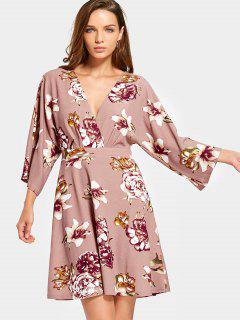 Long Sleeve Cut Out Floral Mini Dress - Nude Pink S