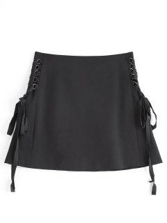 Back Zip Lace Up Mini Skirt - Black S