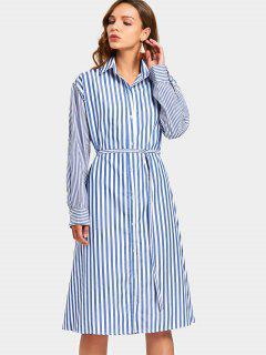 Striped Belted Button Down Dress - Blue Xl