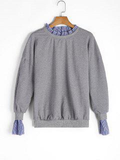 Oversized Ruffles Stripes Panel Sweatshirt - Gray L