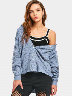 Knopf Oben Plaid-Taschen-Hemd - Blau M