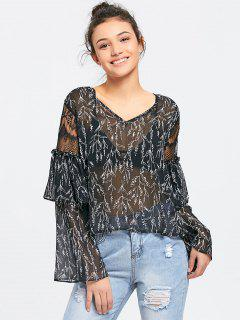 Printed Ruffles See Thru Blouse - Black S