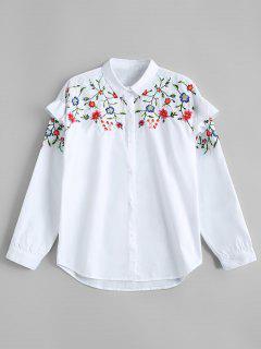 Chemise Brodée Floral Bordée - Blanc S