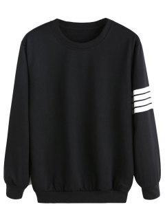 Loose Stripes Panel Sweatshirt - Black S