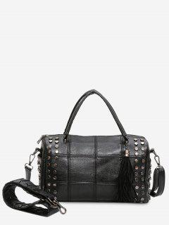 Tassel Stud Quilted Tote Bag - Black