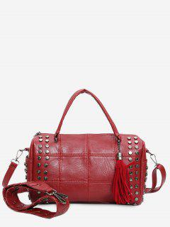 Tassel Stud Quilted Tote Bag - Red