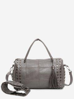 Tassel Stud Quilted Tote Bag - Gray