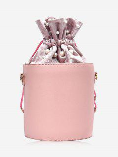 Drawstring Faux Pearl Bucket Bag - Pink