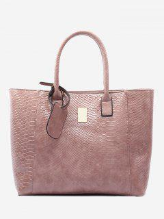 Alligator Printed Faux Leather Shoulder Bag - Pink