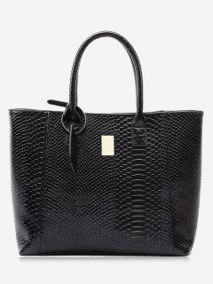 Alligator Printed Faux Leather Shoulder Bag - Black