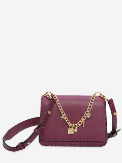 Heart Star Chain Crossbody Bag - Purple