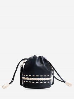 Drawstring Braid Crossbody Bag - Black