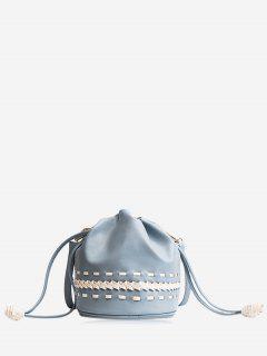 Drawstring Braid Crossbody Bag - Blue