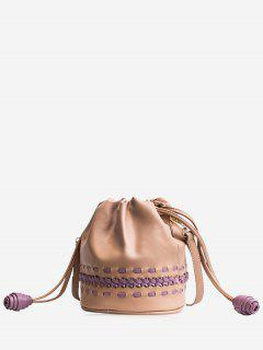 Drawstring Braid Crossbody Bag - Khaki