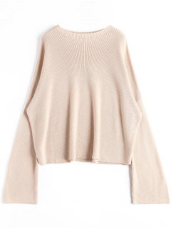 Oversized Slash Neck Boxy Sweater - Apricot