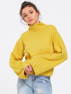 Lantern Sleeve Turtleneck Sweater - Yellow