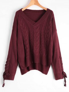 Lace Up Cable Knit V Neck Sweater - Wine Red