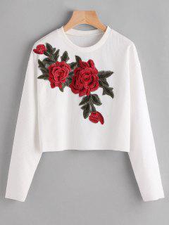 Floral Applique Ribbed Freigestellte T-Shirt - Weiß L
